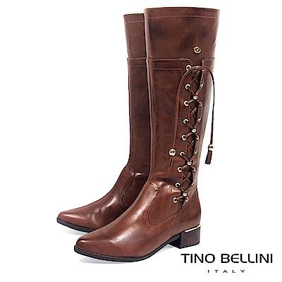 Tino Bellini 巴西進口復古情調綁帶低跟長靴_ 咖