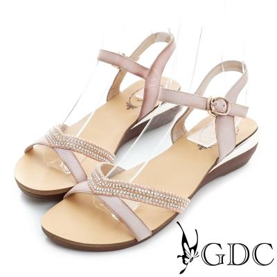 GDC-V型水鑽裝飾真皮楔型厚底涼鞋-粉色