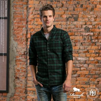 ROUSH (Slim Fit)隱藏口袋磨毛條紋設計法蘭絨格紋襯衫 (3色)