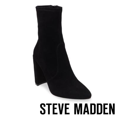 STEVE MADDEN-TONY 尖頭粗高跟拉鍊短靴-黑色