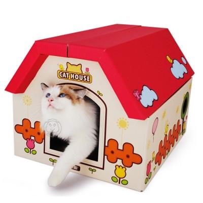 dyy》玩具房子抓板瓦楞別墅