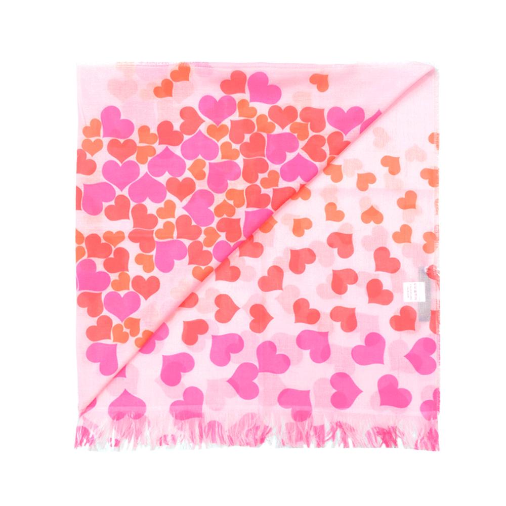 Alviero Martini 義大利地圖 碎片愛心絲巾-粉紅(42X200)