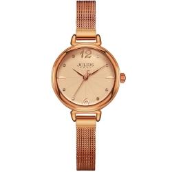 JULIUS聚利時 為我著迷點鑽米蘭錶帶腕錶-古銅金/28mm