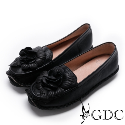 GDC-真皮柔軟舒適立體花朵休閒鞋-黑色