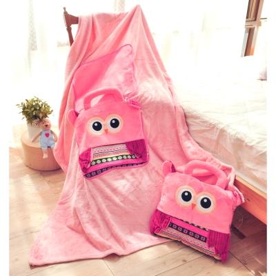 亞曼達Amanda 立體卡通兩用法萊絨抱枕毯子-貓頭鷹(粉)