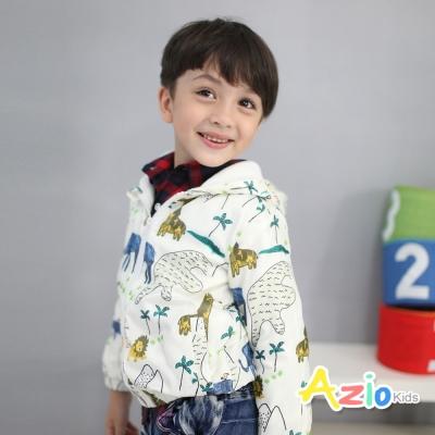Azio Kids 童裝-連帽外套 動物口袋拉鍊搖粒絨風衣外套(米黃)