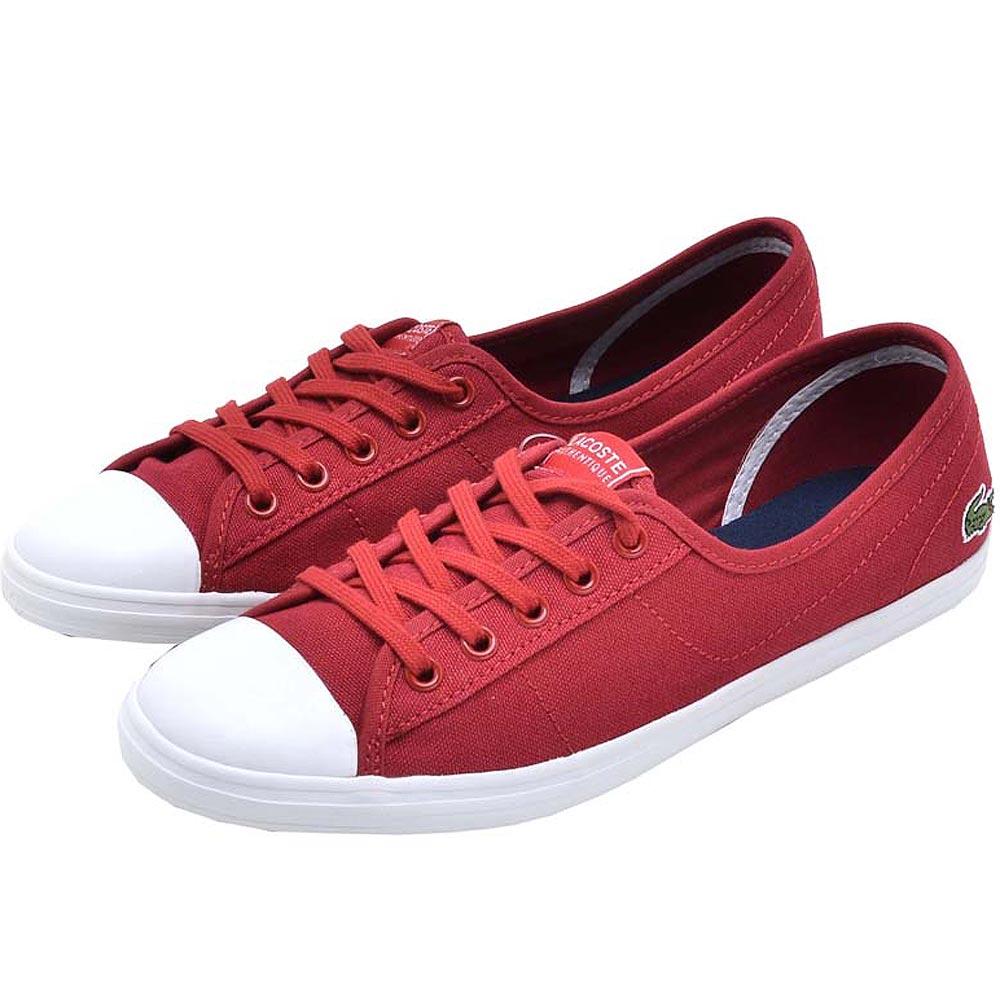 Lacoste ZIANE 綁帶女用休閒帆布娃娃鞋-紅色