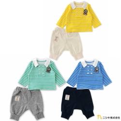 Nishiki 日本株式會社 條紋翻領長袖套裝