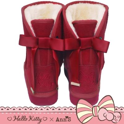 HELLO KITTY X Ann'S皇家緞帶刺繡真皮雪靴禮盒-酒紅