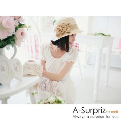 A-Surpriz 優雅立體花朵遮陽帽(米白)