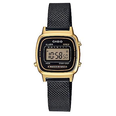 CASIO 小巧復古風米蘭時尚風格數位錶(LA-670WEMB-1 )-黑面X金框/30.3mm