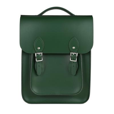 The Leather Satchel 英國原裝手工牛皮經典後揹包 手提包 郵差綠