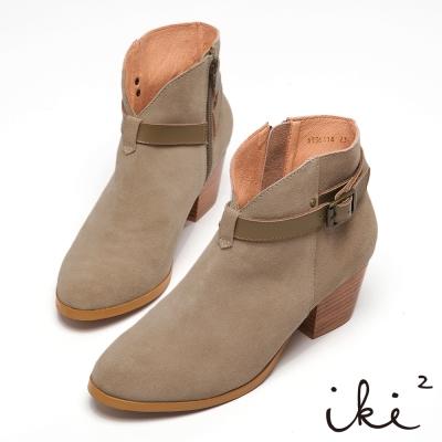 iki2法式優雅-麂皮簡約緞帶低跟短靴-卡其