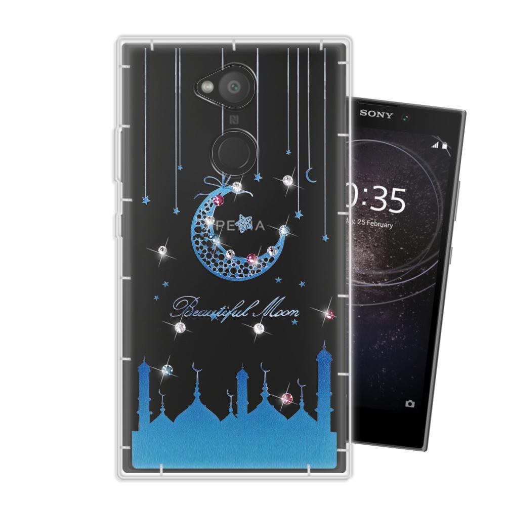 WT SONY Xperia L2 奧地利水晶彩繪空壓手機殼(月彎星辰)