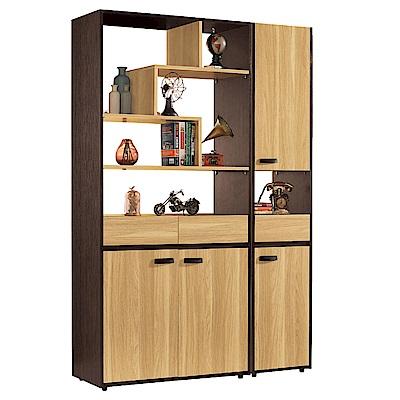 品家居  摩多4.3尺木紋雙色玄關櫃/隔間櫃-130x35x197.2cm免組