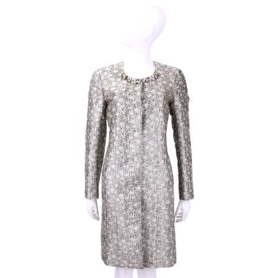 BLUGIRL 米色鑽領飾刺繡花卉大衣