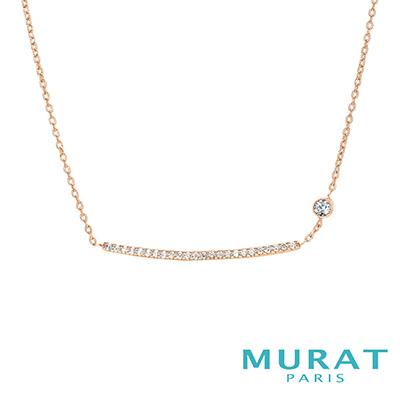 MURAT Paris米哈巴黎 氣質滿鑽平衡骨項鍊(玫瑰金)