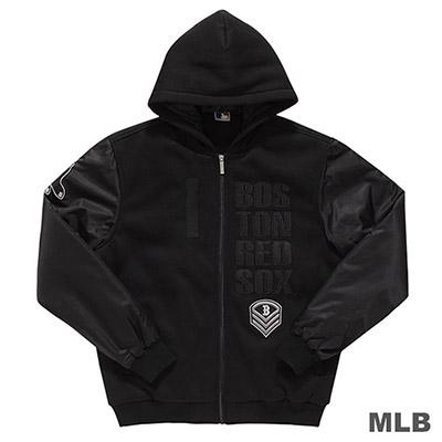 MLB-波士頓紅襪隊鋪棉連帽合身棒球外套-黑 (男)
