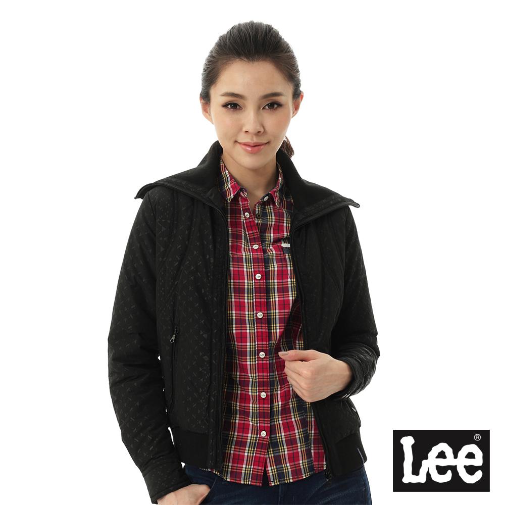 Lee 鋪棉外套 幾何圖案拉鍊高領 -女款(黑)