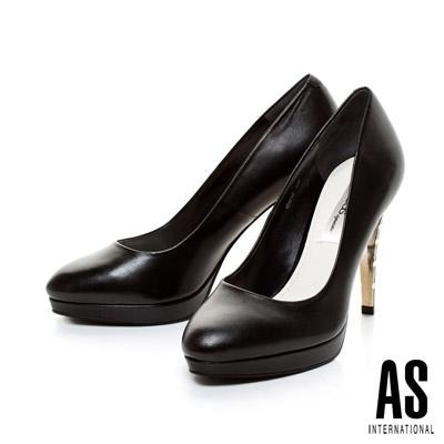 AS-金屬電鍍造型鞋跟羊皮美型高跟鞋-黑