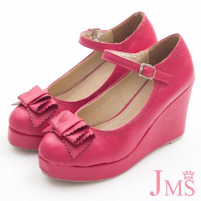 JMS-典雅氣質蝴蝶結楔型娃娃鞋-紅色
