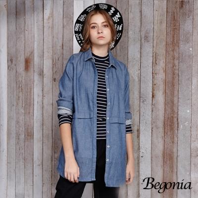 Begonia 條紋配色長版牛仔襯衫(共兩色)