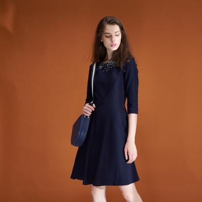ICHE衣哲 質感時尚鑲飾羊毛七分袖造型禮服洋裝-藍