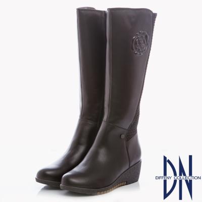 DN 經典復古 牛皮拼接異材質花紋楔型長靴-咖