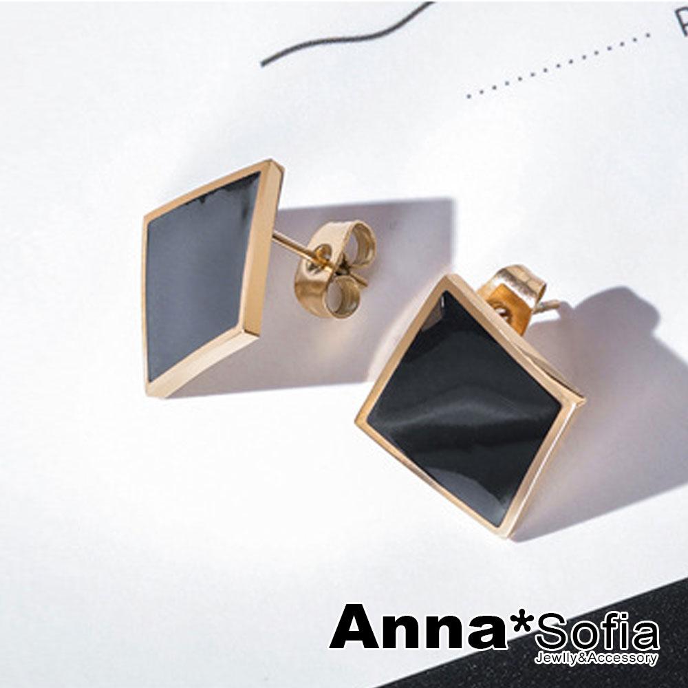 【3件480】AnnaSofia 幾何圖形 白鋼耳針耳環(弧形方菱-黑金系)