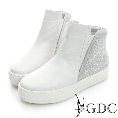 GDC舒適-水鑽拼接真皮內增高休閒鞋-白色