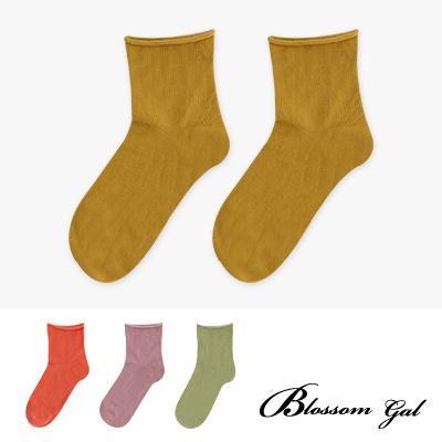Blossom Gal 韓風慵懶捲邊舒適柔感造型短襪<b>2</b>入組(共九色)