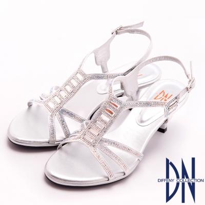 DN 時尚MIT 個性亮麗水鑽踝跟涼鞋 銀