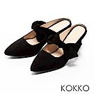 KOKKO -小步舞曲浪漫蝴蝶結尖頭穆勒鞋-優雅黑