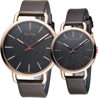 Calvin Klein even系列情繫永恆對錶(K7B216G3+K7B236G3)咖