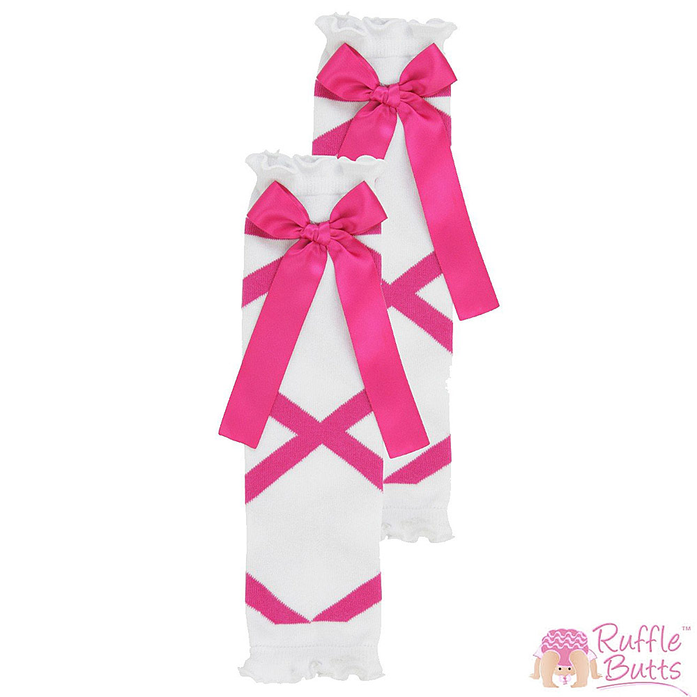 RuffleButts 小女童芭蕾緞帶桃紅蝴蝶結襪套
