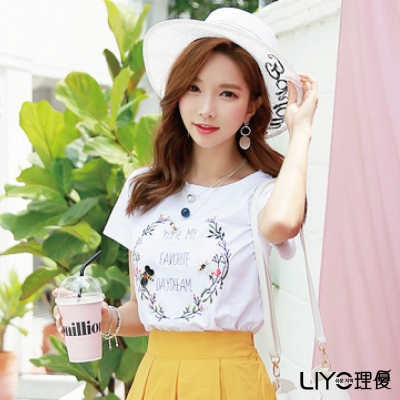 LIYO理優立體印花竹節棉T恤(白)