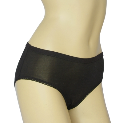 三角褲 100%蠶絲簡約少女內褲2件組M-XL(黑)Seraphic