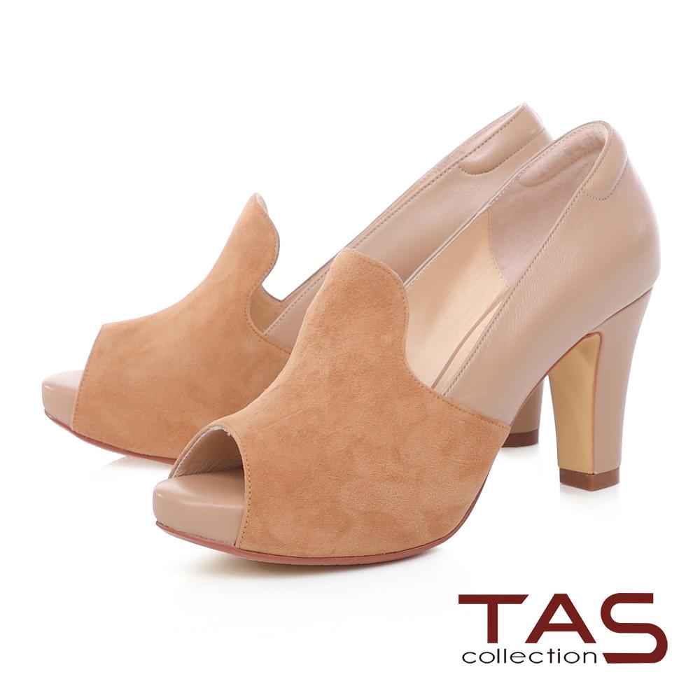 TAS 雙色異材質拼接魚口高跟鞋-焦糖卡其