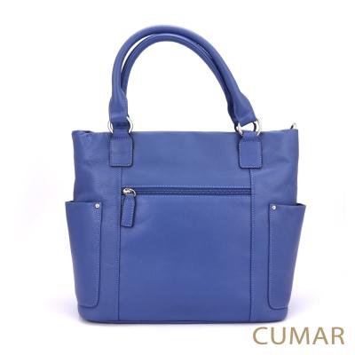 CUMAR 荔枝紋真皮手提2way托特包-藍色