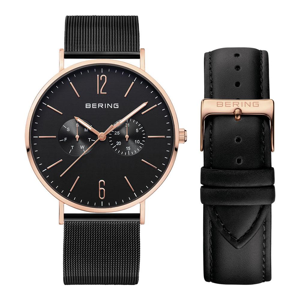 BERING- 雙眼日期顯示系列 藍寶石鏡 銀x黑色真皮/米蘭錶帶套組40mm