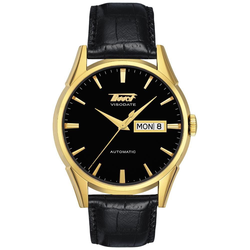 TISSOT VISODATE 1957 復刻機械腕錶-金/黑/39.3mm.