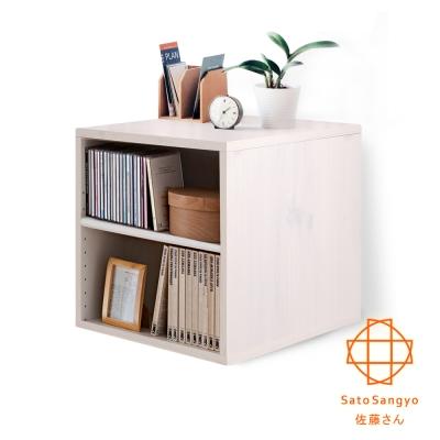Sato-Hako有故事的風格-雙格櫃(復古洗白木紋)