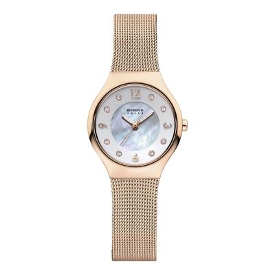 BERING丹麥精品手錶 晶鑽刻度米蘭帶金屬系列 珍珠母貝錶盤 玫瑰金27mm