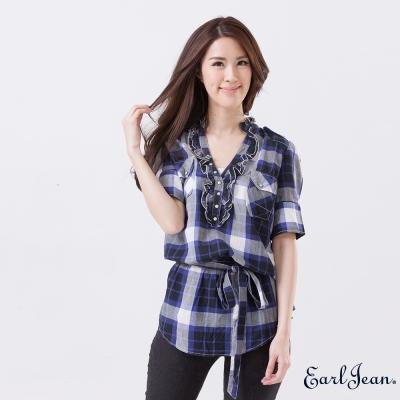 Earl-Jean-前開襟感綁帶衫-藍紫-女