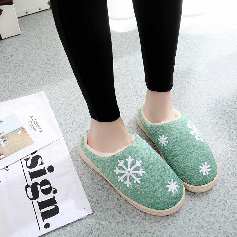 iSFun 冬戀雪花 男女刷毛保暖室內拖鞋 綠4041號