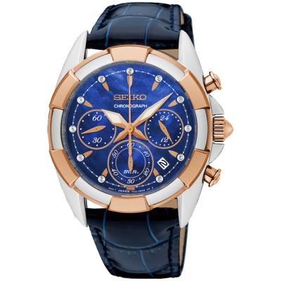 SEIKO精工 藍色大海晶鑽計時手錶(SRW810P1)-珍珠貝x藍/38mm