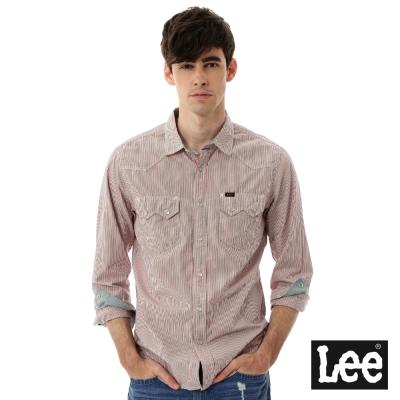 Lee 條紋長袖襯衫- 男款-紅