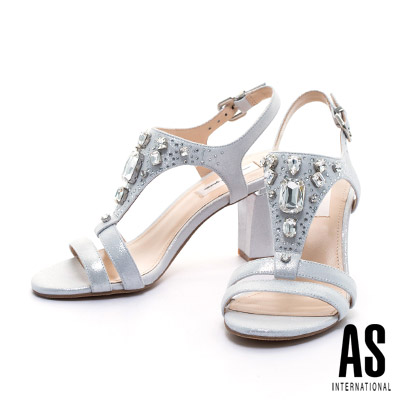 涼鞋 AS 華麗鑽飾全羊皮美型T字高跟涼鞋-銀