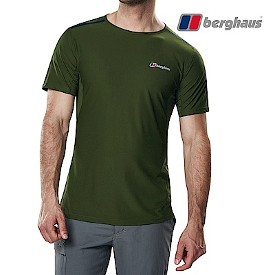 【Berghaus貝豪斯】男款銀離子除臭抗菌抗UVT恤S04M12-綠