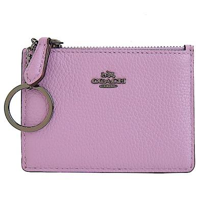 COACH 專櫃款荔枝皮革鑰匙零錢夾(粉紫)